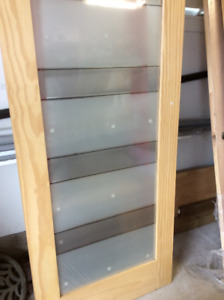 Solid Pine Interior Door with Frosted Glass Panel Insert