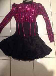 HOT PINK SEQUENCED MESH BODY SUIT & CORSET SKIRT