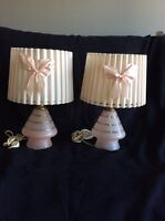 Vintage retro pink glass table lamps