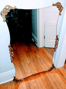 "51""L x 33""W XL Antique SCALLOPED MIRROR with Frame"