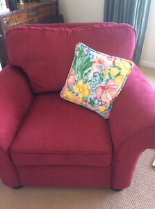 2 beautiful red comfy lg chairs. Reduced to sell! Must go!