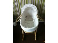 Neutral Moses basket with Claire de lune rocking stand