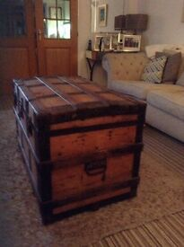 Antique Solid pine blanket box /chest/trunk