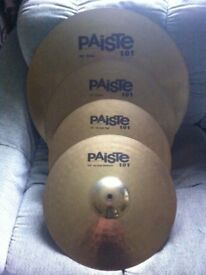 "Paiste cymbals set for drum kit 20"" ride 16"" crash 14"" hi-hats Made in Germany"