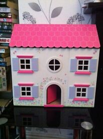 ** AS NEW ** wooden dolls house + furniture (paid £60)