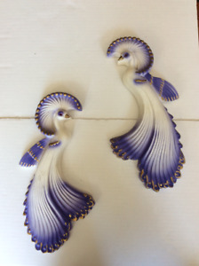 LOVELY PAIR OF PLASTER BIRDS | WALL HANGING DECORATIONS DECOR
