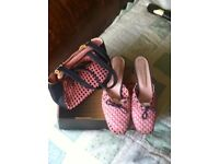 Russell and Bromley mules and matching bag