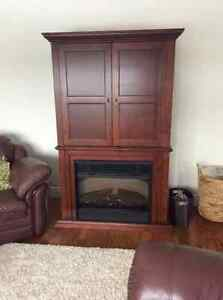 Tv cabinet stand with fireplace