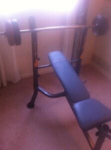 Workbench with 6' bar, easy curl bar, dumbbell & weights