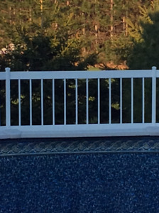 White PVC pool railing