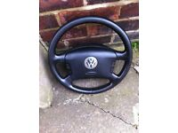 Vw golf mk4/bora black leather steering wheel/airbag