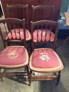 FOUR MATCHING ANTIQUE CHAIRS