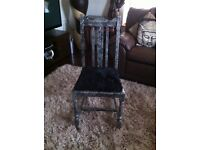 METALIC SILVER AND BLACK CHAIR