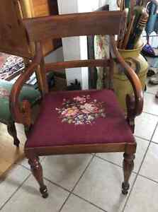 Set of 6 Gibbard walnut dining chairs with needlepoint seats