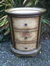 A Continental Painted Oval Three Drawer Side table/Chest