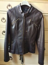 Brown bikers jacket - like new