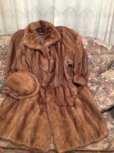 Manteau de fourrure en vison veritable
