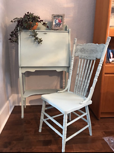 Antique secretary and chair