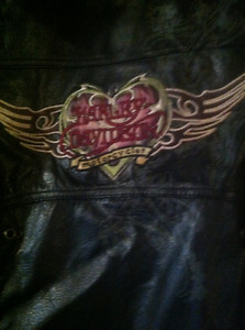 perfect harley leather jacket, chaps, and harley davidson shell
