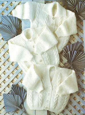 "Baby Cable Cardigan Collar Round -V Premature 12 - 24""  4 Ply Knitting Pattern"