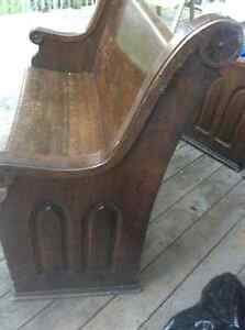 Antique historic solid oak church pew/bench (1854)