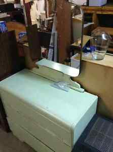 FAPO - Green Antique Dresser and Mirror
