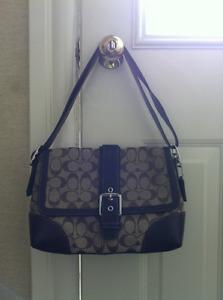 Brown Coach handbag- leather and fabric