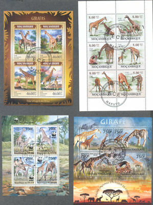 Giraffes-25 all different stamps-Wild Animals