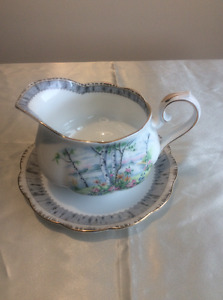 "Royal Albert ""Silver Birch"" Gravy Boat,  & Salt and Pepper"