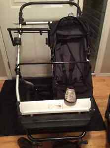 Mountain Buggy Double Stroller (car seat, base, glider board)
