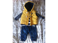 0-3 months yellow puffa waistcoat, top and jeans set