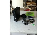 Xbox 360 4gb slim console with leads, controller & 8 games S