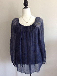 Silk Long Sleeve Top, Paisley/Floral Pattern, Size L