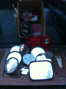 Box Lot of  Truck Tail Lights, Lenses, Mirrors, Some of it NEW!