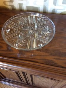 Vintage Pinwheel Crystal Footed Serving Platter