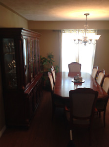 Solid wood dinning set with hutch, display cabinet and sever