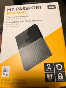 New external hard drive Western Digital 2 TB for Mac