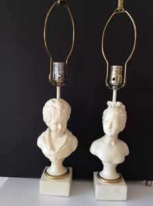 2 Vintage chalkware boy and girl white bust lamps