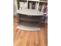 Silver TV stand, with glass doors