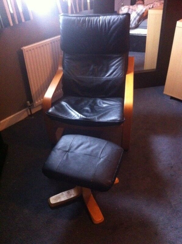 Black leather IKEA chair and foot stool similar