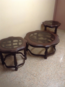 Wooden Round Coffee Table with Two Round Side Tables