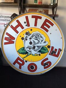 White Rose 48 inch Double sided Porcelain sign