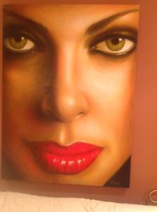 Toile par peintre Armond tres belle 36x48 pouces visage