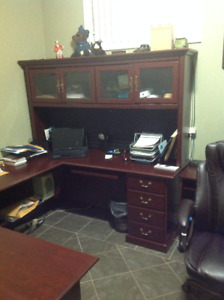 Executive office desk, with hutch and chairs