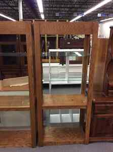 Contemporary Oak Display with Glass Shelves
