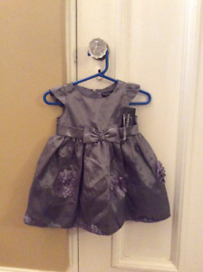 Baby party dress , grey, new with tags, size 9 months