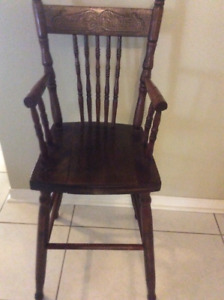 Antique wooden toddler's high chair