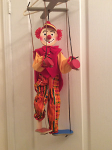 """Clown puppet/Marionette.  Tall wooden and colourful.  25"""" tall."""