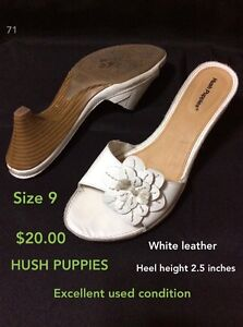 Size 9 leather hush puppies