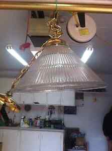 Glass Ceiling Lamp / gold trimming for kitchen or D/R + 2 matchi